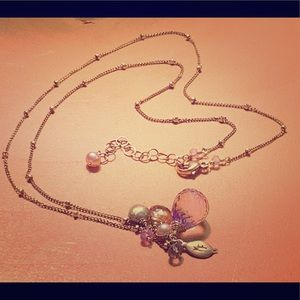 Pink Amethyst Gold Necklace